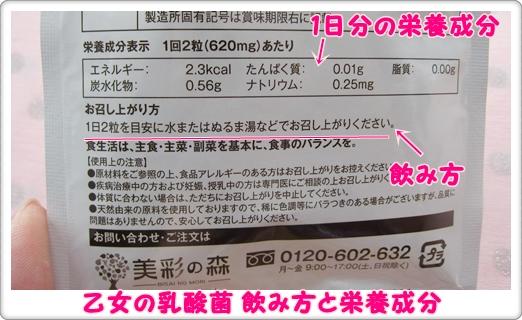 乙女の乳酸菌 口コミ パッケージ 飲み方 栄養成分