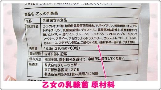 乙女の乳酸菌 口コミ パッケージ 原材料